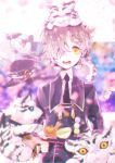 1boy amaneryuusei animal animal_on_head blue_eyes blurry cup dango depth_of_field drooling fang flying_sweatdrops food gokotai gokotai's_tigers hair_over_one_eye hat hat_removed headwear_removed male_focus military military_uniform necktie open_mouth petals sanshoku_dango teapot tiger tiger_cub touken_ranbu tray uniform wagashi white_hair white_tiger yellow_eyes