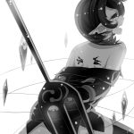 arms_behind_back black_dress black_hair blood bound bound_arms diamond dress endwhite houjuu_nue legs_apart lines monochrome off_shoulder pointy_ears polearm short_dress short_hair simple_background thigh-highs touhou trident weapon white_background wings zettai_ryouiki