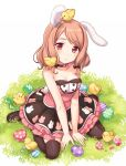 ... 1girl animal_ears bare_arms bare_shoulders bird black_legwear breasts brown_hair bunny_print bunny_tail chick cleavage collarbone easter_egg hatching looking_at_viewer maki_(natoriumu) original rabbit_ears red_eyes shirt sitting skirt sleeveless solo tail thigh-highs thighs too_many too_many_chicks v_arms wariza zettai_ryouiki