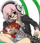 amber_eyes blush button glasses guitar headphones nitroplus pink_hair sitting soniko tuning_guitar