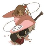 1girl acoustic_guitar asano4124 brown_hair copyright_request guitar instrument japanese_clothes kimono microphone microphone_stand skull solo