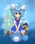 1girl aoi_tobira blue_eyes blue_hair cirno crossover frozen marill pokemon pokemon_(creature) politoed short_hair snorunt swablu touhou