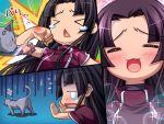 >_< :< :3 black_hair blush cat comic expressions koihime_musou open_mouth shuutai silent_comic tears