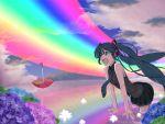 aqua_hair clouds duplicate flower happy hatsune_miku hydrangea long_hair minazuki_isami necktie open_mouth rainbow sky solo twintails umbrella very_long_hair vocaloid