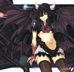 animal_ears bat_wings black_hair breasts bridal_gauntlets cloud clouds fingerless_gloves gloves horns lace long_hair moon navel navel_piercing original piercing red_eyes smile thigh-highs thighhighs under_boob underboob wings