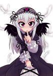 dress feathers frills hairband long_hair purple_eyes rozen_maiden shh shushing silver_hair suigintou torotei violet_eyes wings