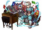 1boy 1girl absurdres bird_wings book bookshelf choker full_body game_console glasses highres japanese_clothes katana lego morichika_rinnosuke nintendo_64 open_mouth playing_games scroll short_hair sitting socha sword television tokiko_(touhou) touhou weapon white_background wings