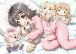 1girl :3 akagi_miria black_hair brown_eyes character_doll idolmaster idolmaster_cinderella_girls jougasaki_mika jougasaki_rika moroboshi_kirari open_mouth pajamas pink_hair regular_mow short_hair stuffed_animal stuffed_toy tanuki two_side_up
