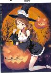 1girl alternate_costume halloween halloween_costume hat highres italia_(kantai_collection) jack-o'-lantern jiji kantai_collection littorio_(kantai_collection) official_art witch witch_hat