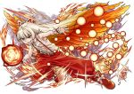 >:d 1girl :d adapted_costume armpits baggy_pants bow danmaku fire fujiwara_no_mokou full_body hair_bow hair_ribbon hair_wings long_hair looking_at_viewer ofuda open_mouth pants phenne phoenix_wings red_eyes red_pants ribbon shirt silver_hair sleeveless smile solo suspenders touhou white_background white_shirt wrist_cuffs