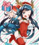 >;d 1girl ;d antlers bangs black_hair blue_eyes blue_hair boots box diagonal_stripes dress fish_tail fur_trim gift gift_box head_fins high_heel_boots high_heels holly karin_(p&d) long_hair marshmallow_mille one_eye_closed open_mouth puzzle_&_dragons reindeer_antlers sack santa_costume short_dress small_breasts smile solo striped striped_background swept_bangs thigh-highs thigh_boots twitter_username very_long_hair wristband
