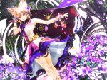 1girl cape flower highres kurogoma_(meganegurasan) mikumikudance petals solo sword touhou weapon yellow_eyes