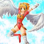 1girl angel_wings armor blonde_hair boots breasts breath_of_fire breath_of_fire_i gloves green_eyes hairband leotard nina_(breath_of_fire_i) short_hair small_breasts solo thigh-highs white_wings wings
