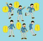 5plus5 6+boys ;) arm_up blue_background blue_necktie brothers formal hands_in_pockets heart heart_in_mouth male_focus matsuno_choromatsu matsuno_ichimatsu matsuno_juushimatsu matsuno_karamatsu matsuno_osomatsu matsuno_todomatsu messy_hair multiple_boys necktie one_eye_closed osomatsu-kun osomatsu-san parody pointing running sextuplets siblings simple_background smile style_parody suit sweatdrop triangle_mouth wavy_mouth