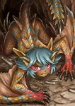 1girl all_fours maxa' monster_girl monster_hunter personification red_eyes scales tagme tail tigrex wings