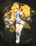 1girl absurdres alternate_eye_color alternate_hair_color artist_name black_background blonde_hair boots character_name elsword eve_(elsword) expressionless facial_mark fingerless_gloves flat_chest gloves gun highres knee_boots leotard long_hair looking_away ming_(wldi0132) no_nose open_clothes open_shirt robot shirt solo tattoo weapon white_boots white_gloves white_shirt yellow_eyes