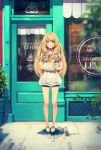 1girl bakery bare_legs blonde_hair blouse bread carrying collarbone door expressionless food full_body highres long_hair looking_at_viewer original pastry shop short_shorts shorts silhouette solo standing storefront window yellow_eyes yohan12