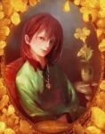 androgynous blood bloody_knife bossmonsterbani brown_hair chair chara_(undertale) character_name flower heart heart_necklace highres jewelry knife looking_at_viewer pendant portrait realistic red_eyes ribbon shirt spoilers striped striped_shirt undertale vase yellow_flower