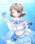 blue_eyes blush dress gray_hair love_live!_sunshine!! short_hair smile underwater watanabe_you