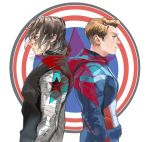 2boys absurdres back-to-back blonde_hair blue_eyes brown_hair captain_america from_side green_eyes highres james_buchanan_barnes male_focus marvel mechanical_arm multiple_boys star steve_rogers superhero sys_(eliya446) winter_soldier