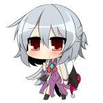 1girl chibi doremy_sweet_(baku) kishin_sagume red_eyes silver_hair single_wing solo tapir touhou twumi white_background wings