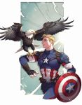 1boy bald_eagle belt bird bird_on_arm blonde_hair blue_eyes captain_america cowboy_shot eagle fingerless_gloves gloves male_focus marvel pouch shield steve_rogers superhero yufy