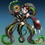 1girl claws cthulhu_mythos musora nyarlathotep orb original personification red_eyes smile socks tentacles thigh-highs white_hair