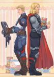 2boys avengers baby_bottle blonde_hair blue_eyes bottle cape captain_america long_hair male_focus marvel milk multiple_boys nikumeron steve_rogers superhero thor_(marvel)