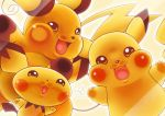 against_glass artist_name fourth_wall highres no_humans open_mouth pichu pikachu pokemon pokemon_(creature) raichu smile tail toni_hoang_nguyen watermark