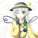 1girl commentary_request dress extra_eyes finger_to_mouth green_collar green_eyes green_hair hat hat_ribbon heart heart-shaped_pupils heart_background heart_of_string komeiji_koishi long_sleeves looking_at_viewer one_eye_closed ribbon smile solo suzuki_sakura symbol-shaped_pupils third_eye touhou wide_sleeves