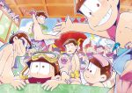 5girls 6+boys bath bathhouse brothers brown_hair bucket female_pervert heart heart_in_mouth janome_(osmtpippi) knife looking_at_viewer male_focus matsuno_choromatsu matsuno_ichimatsu matsuno_juushimatsu matsuno_karamatsu matsuno_osomatsu matsuno_todomatsu messy_hair multiple_boys multiple_girls old_man onsen osomatsu-kun osomatsu-san peeping pervert pink_eyes poster red_eyes rubber_duck sextuplets siblings sitting snorkel soap_bottle sunglasses sweatdrop towel towel_on_head yellow_eyes