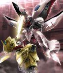 damaged energy_sword floating gundam highres hyaku_shiki mecha no_humans outstretched_arm platin_(alios) qubeley steam sword weapon zeta_gundam