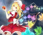 1girl apple bangs blonde_hair blue_flower blurry bow closed_mouth cowboy_shot cravat crystal depth_of_field finger_to_mouth fingernails flandre_scarlet flower food frilled_skirt frilled_sleeves frills fruit glowing_flower green_flower hair_between_eyes hat hat_bow hat_ribbon head_tilt holding holding_fruit light_particles long_fingernails looking_at_viewer mob_cap nail_polish one_side_up pink_flower puffy_short_sleeves puffy_sleeves purple_flower red_bow red_eyes red_nails red_ribbon red_skirt red_vest ribbon sharp_fingernails shirt short_sleeves shushing skirt skirt_set smile solo somalisu touhou vest white_bow white_hat white_shirt wings yellow_flower
