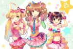 3girls akagi_miria black_hair blonde_hair brown_eyes brown_hair decoration_(idolmaster) green_eyes hair_ornament idolmaster idolmaster_cinderella_girls jougasaki_rika long_hair looking_at_viewer moroboshi_kirari multiple_girls nr_(cmnrr) open_mouth pikapikapop short_hair smile twintails two_side_up