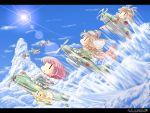 >_< 6+girls a6m_zero above_clouds absurdres ace_combat aichi_d3a airplane aqua_hair aviator_cap black_serafuku blonde_hair blue_sky chibi closed_eyes clouds cloudy_sky failure_penguin fairy_(kantai_collection) flying_sweatdrops goggles goggles_on_head hairband highres kantai_collection long_hair mecha_to_identify multiple_girls neckerchief purple_hair reppuu_(kantai_collection) scarf school_uniform serafuku shiba_inu sky suisei_(kantai_collection) sun torpedo twintails yokosuka_d4y zero_(kantai_collection) zuzuzu  _ 