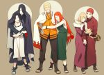 3boys 3girls black_hair blonde_hair cape carnation cloak closed_eyes flower gaara grin karura_(naruto) mother's_day mother_and_son multiple_boys multiple_girls naruto naruto_shippuuden oba-min red_carnation redhead smile tattoo time_paradox uchiha_mikoto uchiha_sasuke uzumaki_kushina uzumaki_naruto whiskers