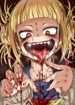 1girl 4shi bangs blonde_hair blood blood_on_face blood_splatter blunt_bangs boku_no_hero_academia crazy_eyes double_bun face fangs finger_to_mouth heart highres long_sleeves looking_down motion_lines neckerchief red_background red_eyes sailor_collar shaded_face shirt short_hair simple_background solo teeth toga_himiko tongue tongue_out trembling upper_body white_shirt