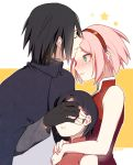 1boy 2girls black_hair boruto:_naruto_the_movie family forehead_kiss haruno_sakura husband_and_wife kiss multiple_girls naruto nipye pink_hair uchiha_sarada uchiha_sasuke