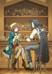 1boy 1girl atelier_(series) atelier_sophie back bag bandanna black_hair boots bottle cape chima_(angelique) drink gloves harol_simens pantyhose red_eyes redhead sitting sophie_neuenmuller