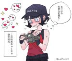 angel azazel_(helltaker) bangs bare_shoulders black_hair black_shorts blue_eyes blush breasts commentary_request gloves halo hat heart helltaker highres holding looking_down noaharbre official_alternate_costume police_hat red_shirt shirt short_hair shorts smile solo thought_bubble translation_request video_camera
