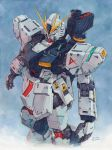 absurdres artist_name bazooka char's_counterattack gundam hector_trunnec highres mecha no_humans nu_gundam realistic science_fiction signature traditional_media watercolor_(medium) weapon