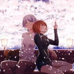 2girls :d aihara_kaya bangs bench black_dress blush breasts brown_hair cherry_blossoms closed_mouth dress eyebrows eyebrows_visible_through_hair flying_witch glowing green_eyes hair_between_eyes holding inukai_(flying_witch) kowata_akane lantern long_sleeves looking_up multiple_girls open_mouth outdoors petals profile short_dress short_hair sitting sleeves_past_elbows smile swept_bangs tree turtleneck wand