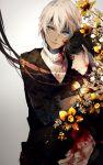 2boys amuro_tooru black_hair blood closed_eyes dark_skin facial_hair flower green_eyes highres meitantei_conan multiple_boys satsuki_(miicat) scotch_(meitantei_conan) short_hair silver_hair stubble