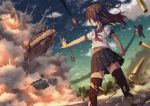 1girl airplane aki_(akisora_hiyori) arm_at_side belly_peek black_legwear black_skirt brown_hair building burning burnt_clothes city clenched_hand clouds commentary_request condensation_trail damaged debris dust dust_cloud explosion f-35_lightning_ii falling fire floating_hair from_below highres legs_apart light_particles long_hair military military_vehicle miniskirt motion_blur navel open_\m/ original outdoors outstretched_arm pleated_skirt school_uniform serafuku shade shell_casing short_sleeves skirt sky skyscraper smoke solo standing stryker tank thigh-highs torn_clothes torn_skirt torn_thighhighs two_side_up upshirt upskirt vehicle vehicle_request