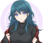 1girl alternate_costume bangs black_sweater blue_eyes blue_hair breasts byleth_(fire_emblem) byleth_(fire_emblem)_(female) casual commentary_request contemporary fire_emblem fire_emblem:_three_houses hair_between_eyes highres jewelry large_breasts long_hair long_sleeves looking_at_viewer necklace plaid ribbed_sweater shawl shimizu_akina sleeves_past_wrists smile solo sweater turtleneck turtleneck_sweater upper_body white_background