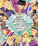 anchor_symbol beard black_hair blonde_hair blush copyright_name dollar_sign earrings facial_hair formal fungami_yuuya gakuran glasses green_eyes green_hair grey_eyes hat hazekura_mikitaka headband heart higashikata_jousuke hirose_kouichi jewelry jojo_no_kimyou_na_bouken joseph_joestar kawajiri_kousaku kilva_lollop kira_yoshikage kishibe_rohan kuujou_joutarou long_hair multicolored_hair necktie nijimura_okuyasu nose_piercing peace_symbol piercing pin pompadour red_eyes scarf school_uniform smile suit translation_request turtleneck two-tone_hair violet_eyes white_hair yamagishi_yukako yen_sign