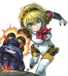 1girl aegis aegis_(persona) amania_orz android blonde_hair blue_eyes headphones persona persona_3 punching robot_joints rocket_punch solo