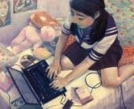 1girl artist_name black_hair black_skirt cellphone computer from_above indoors laptop long_hair mognemu nose oil_painting_(medium) on_bed paint_(medium) painting painting_(object) phone pleated_skirt school_uniform serafuku skirt smartphone solo stuffed_animal stuffed_toy teddy_bear toy traditional_media twitter_username wall watermark