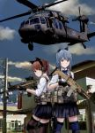 2girls aircraft animal_ears assault_rifle atlanta_(warship_girls_r) blue_hair bow bowtie brown_eyes building cat_ears city clouds commentary gloves gun hair_tie handgun headset helicopter highres holster juneau_(warship_girls_r) kemonomimi_mode knee_pads load_bearing_vest long_hair looking_at_viewer looking_back medium_hair military multiple_girls pistol pleated_skirt ponytail power_lines red_eyes redhead rifle school_uniform shielldsiri skirt sky sleeves_rolled_up smile thigh-highs thigh_holster traffic_light trigger_discipline uh-60_blackhawk warship_girls_r weapon weapon_request zettai_ryouiki