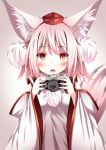 1girl animal_ears bangs blush camera daidai_ookami detached_sleeves eyebrows eyebrows_visible_through_hair fangs hat inubashiri_momiji looking_at_viewer open_mouth pom_pom_(clothes) red_eyes simple_background solo tail tokin_hat touhou upper_body white_hair wide_sleeves wolf_ears wolf_tail